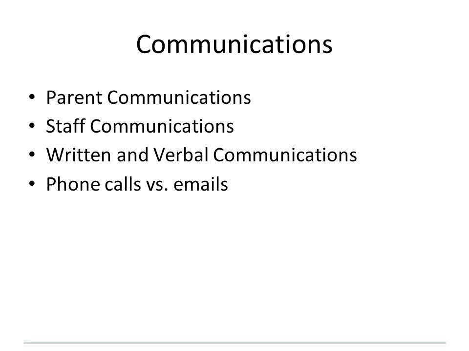 Communications Parent Communications Staff Communications Written and Verbal Communications Phone calls vs.