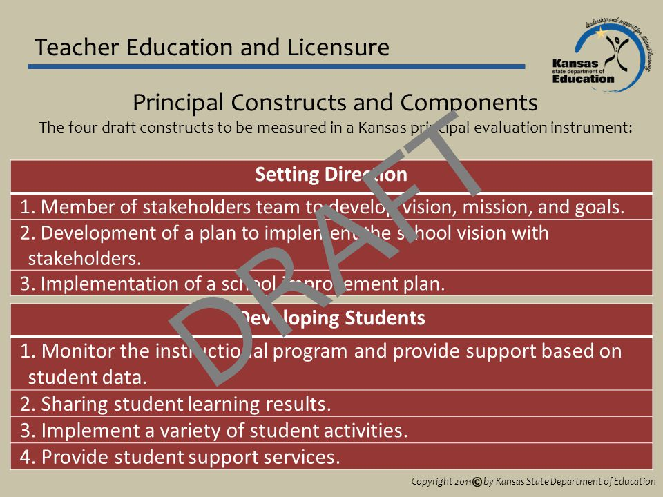 Teacher Education and Licensure Principal Constructs and Components The four draft constructs to be measured in a Kansas principal evaluation instrument: Setting Direction 1.