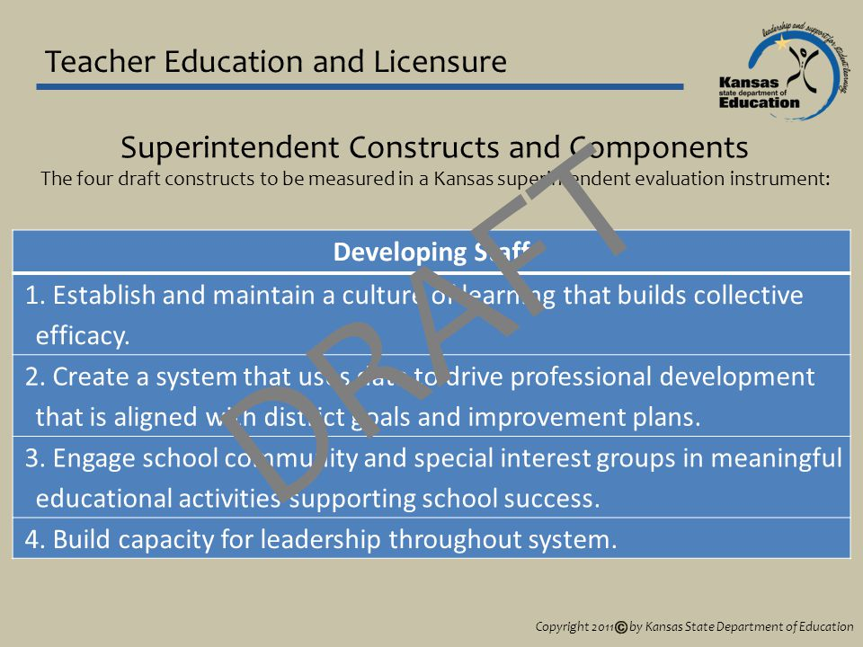 Teacher Education and Licensure Developing Staff 1.