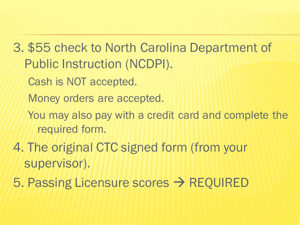  You will receive your Licensure Status Checklist that documents what you have turned in.