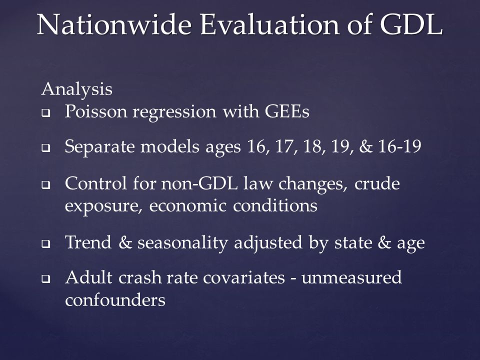 Nationwide Evaluation of GDL Analysis  Poisson regression with GEEs  Separate models ages 16, 17, 18, 19, & 16-19  Control for non-GDL law changes, crude exposure, economic conditions  Trend & seasonality adjusted by state & age  Adult crash rate covariates - unmeasured confounders