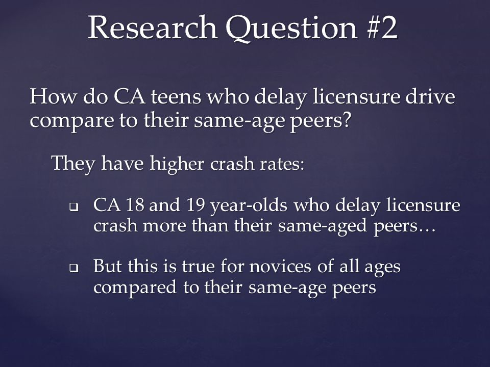 How do CA teens who delay licensure drive compare to their same-age peers.