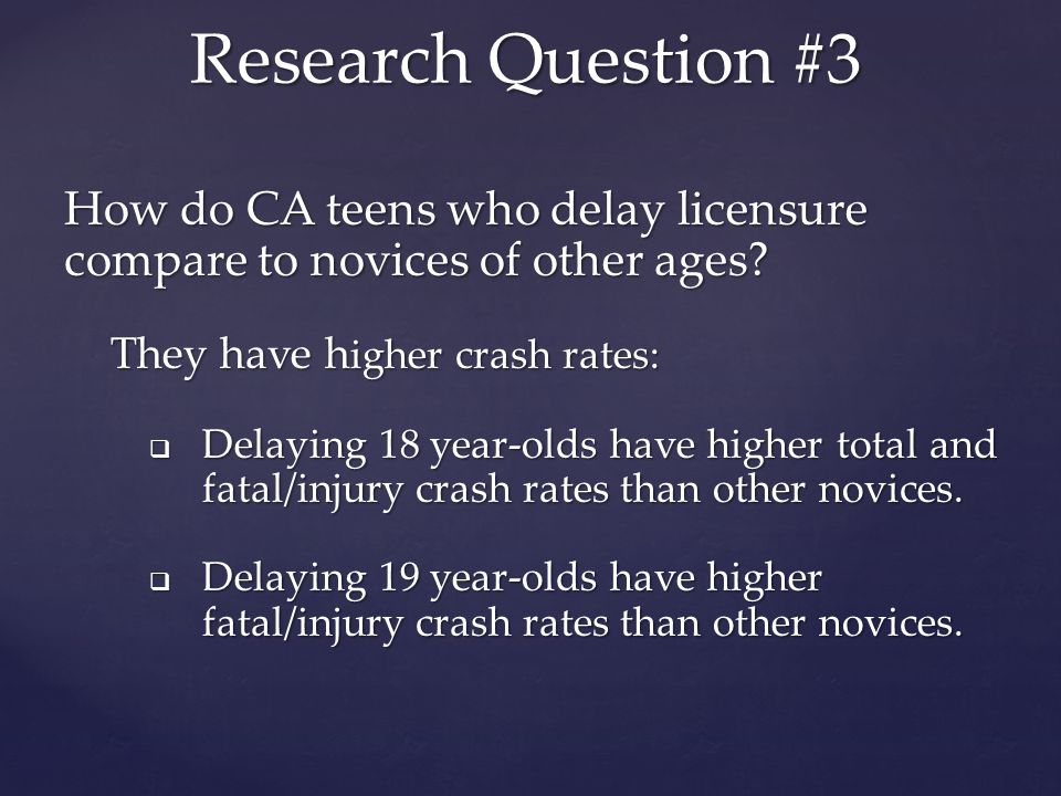 How do CA teens who delay licensure compare to novices of other ages.