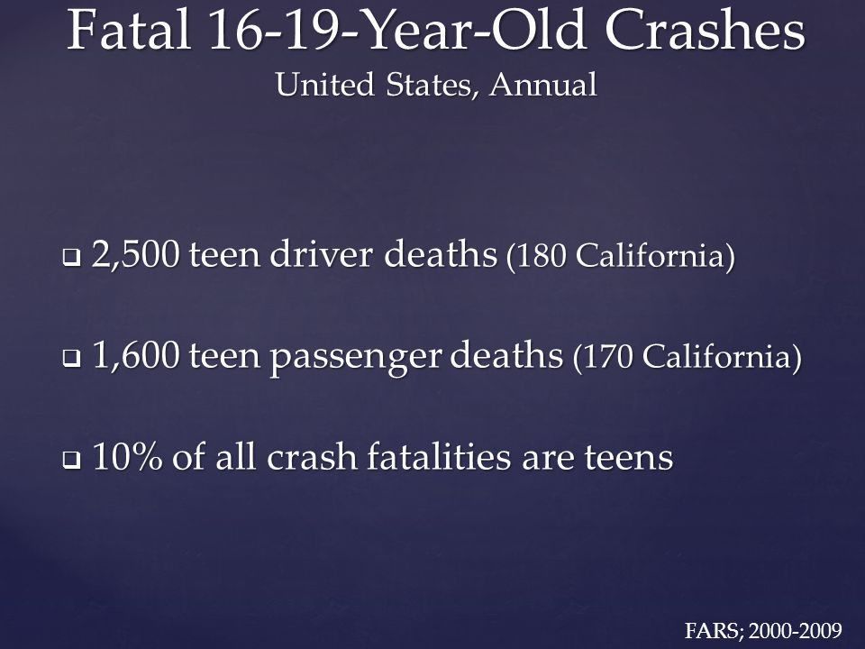 Study Data  Statewide Integrated Traffic Records (SWITRS)  Driver injury crash involvements  Passenger vehicles  1985-2011, monthly  Population data from the U.S.