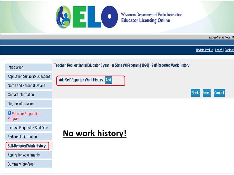 No work history!