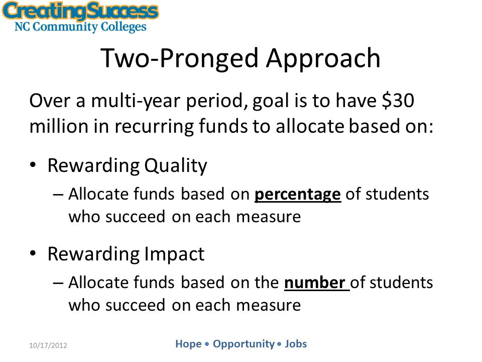Hope Opportunity Jobs Rewarding Impact: In Concept Funds not allocated through the Quality component would be allocated among colleges through the Impact component.