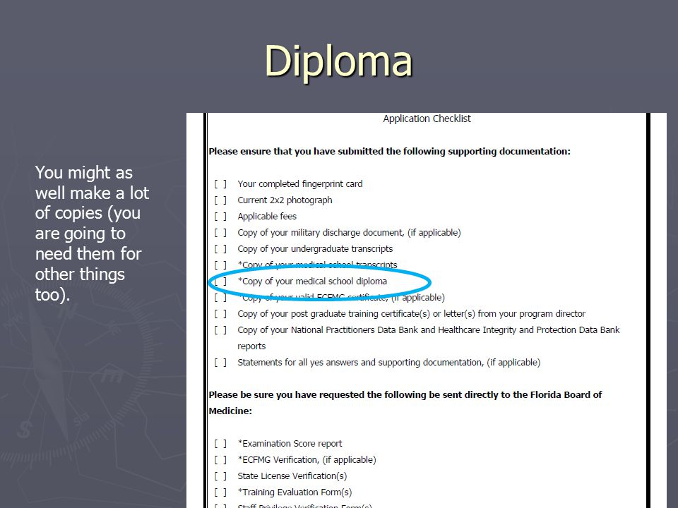 Diploma You might as well make a lot of copies (you are going to need them for other things too).
