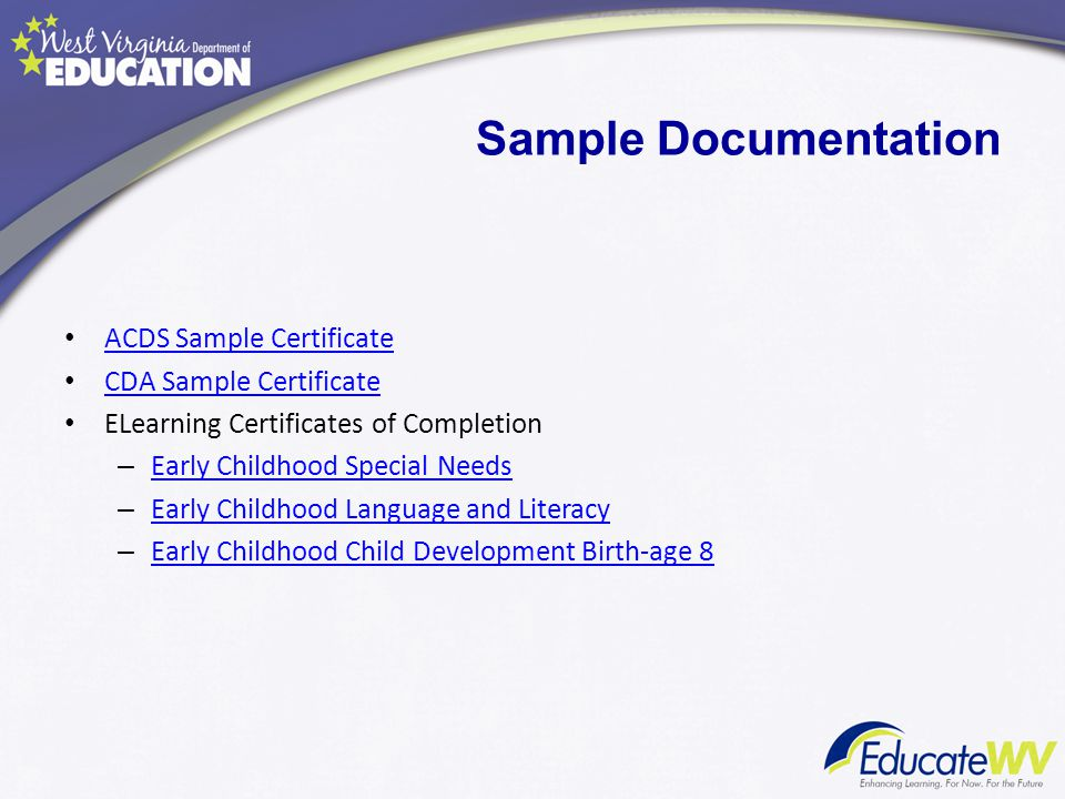 ACDS Sample Certificate CDA Sample Certificate ELearning Certificates of Completion – Early Childhood Special Needs Early Childhood Special Needs – Ea