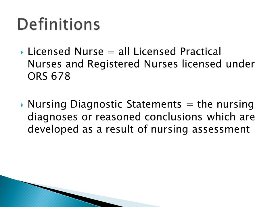  Nursing Interventions = actions deliberately designed, selected and performed to implement the plan of care  Nursing Process = the systematic problem- solving method that licensed nurses use when providing nursing care ◦ Includes: Assessment, making nsg.