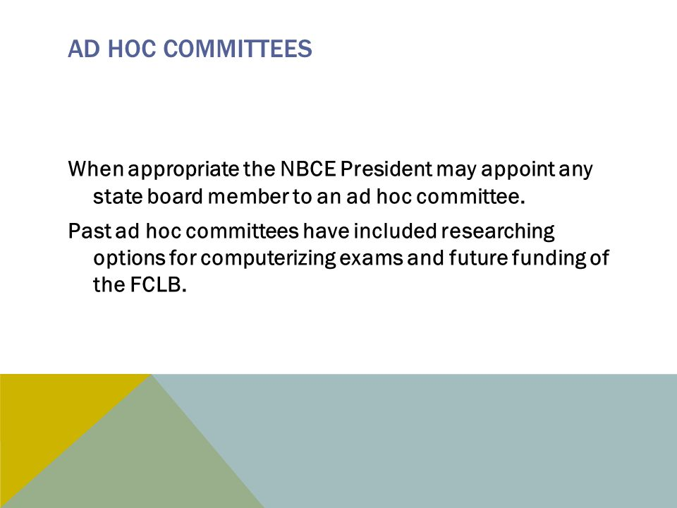AD HOC COMMITTEES When appropriate the NBCE President may appoint any state board member to an ad hoc committee.