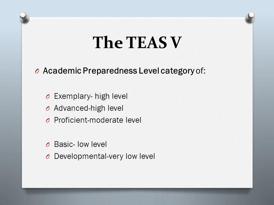 The TEAS V O Academic Preparedness Level category of: O Exemplary- high level O Advanced-high level O Proficient-moderate level O Basic- low level O Developmental-very low level