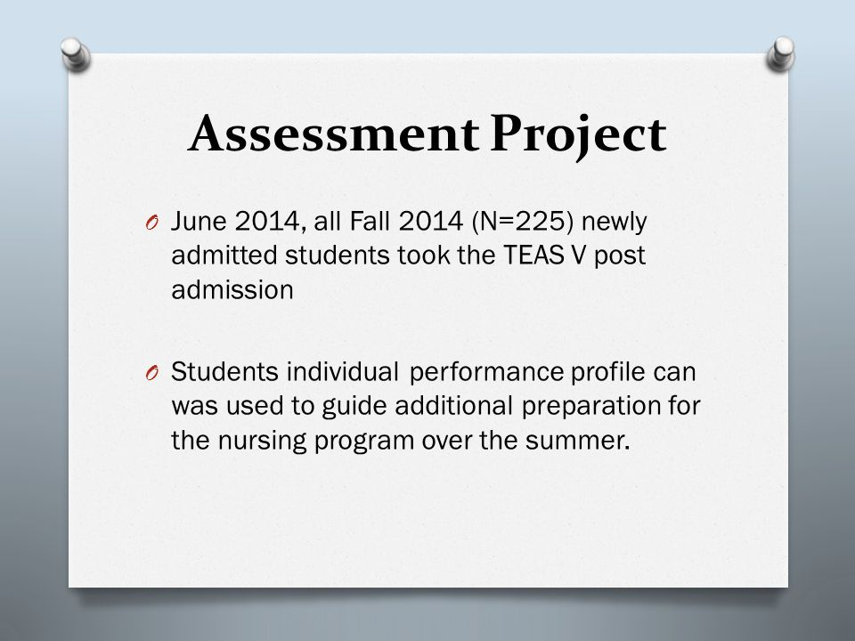 Assessment Project O June 2014, all Fall 2014 (N=225) newly admitted students took the TEAS V post admission O Students individual performance profile