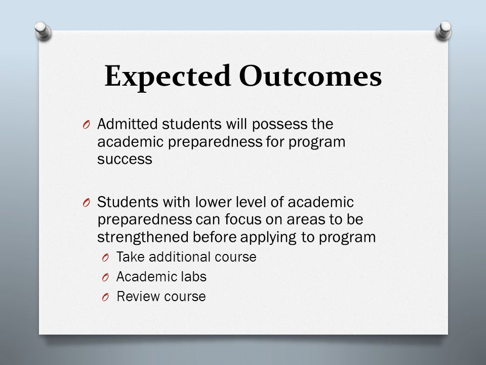 Expected Outcomes O Admitted students will possess the academic preparedness for program success O Students with lower level of academic preparedness can focus on areas to be strengthened before applying to program O Take additional course O Academic labs O Review course