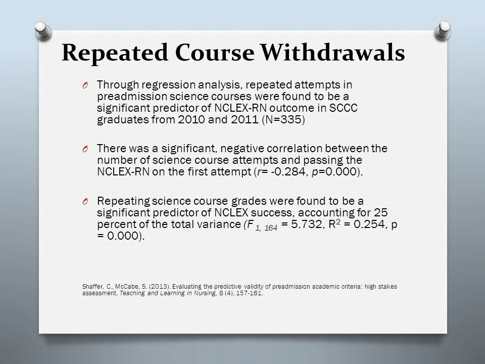 Repeated Course Withdrawals O Through regression analysis, repeated attempts in preadmission science courses were found to be a significant predictor of NCLEX-RN outcome in SCCC graduates from 2010 and 2011 (N=335) O There was a significant, negative correlation between the number of science course attempts and passing the NCLEX-RN on the first attempt (r= -0.284, p=0.000).