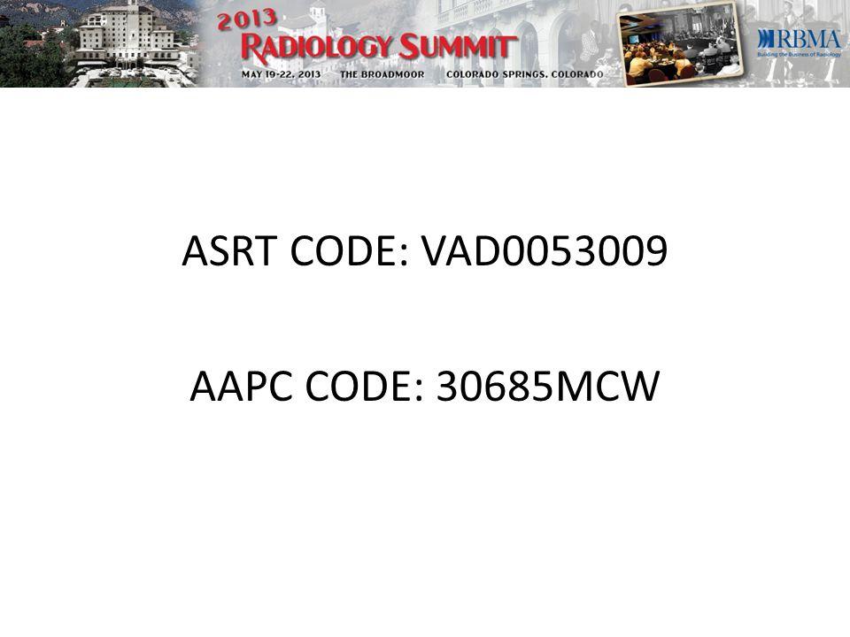ASRT CODE: VAD0053009 AAPC CODE: 30685MCW