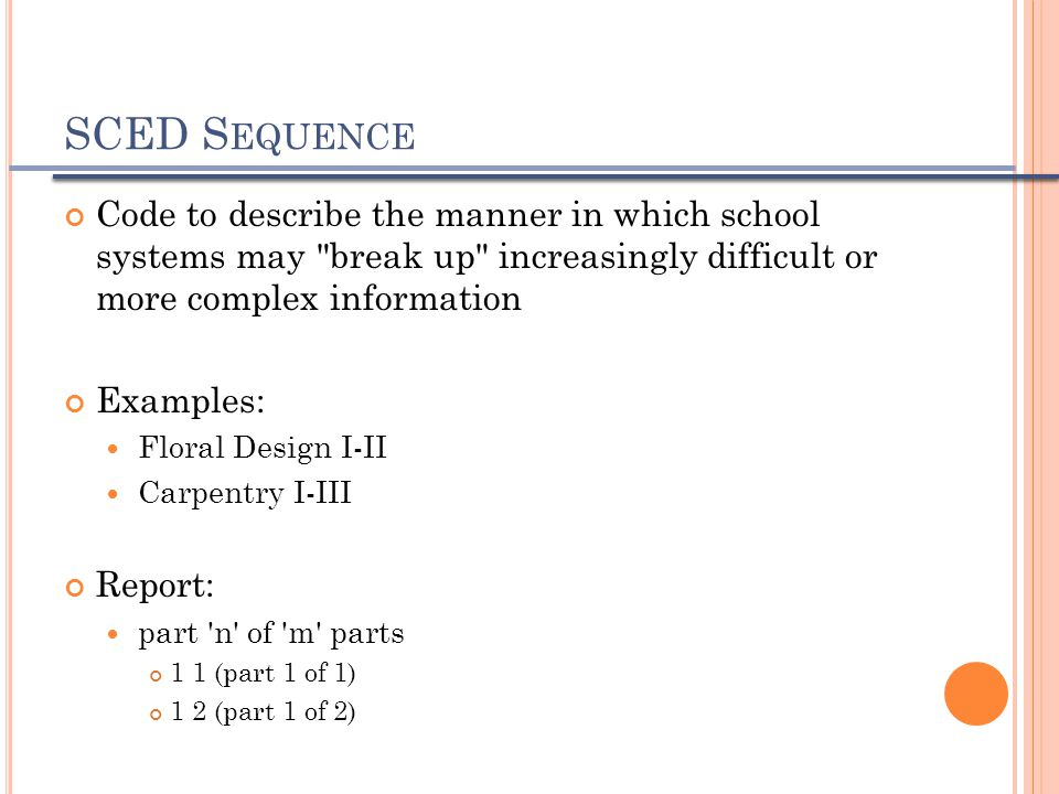 SCED S EQUENCE Code to describe the manner in which school systems may