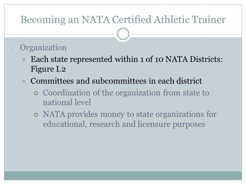 History of Athletic Training Knowledge of history provides understanding of the AT profession  Began with few athletic trainers across nation, mostly in college/university settings  Current size of NATA more than 35,000  Clinics, schools, professional sports.