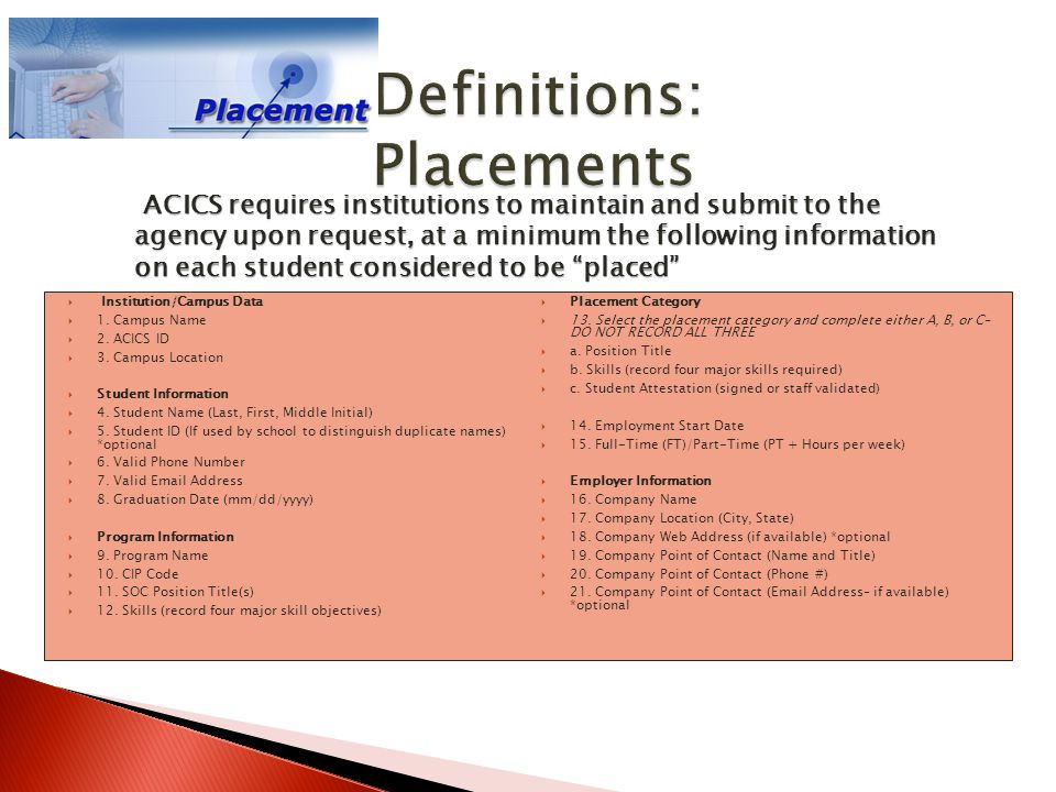  Institution/Campus Data  1. Campus Name  2. ACICS ID  3. Campus Location  Student Information  4. Student Name (Last, First, Middle Initial) 