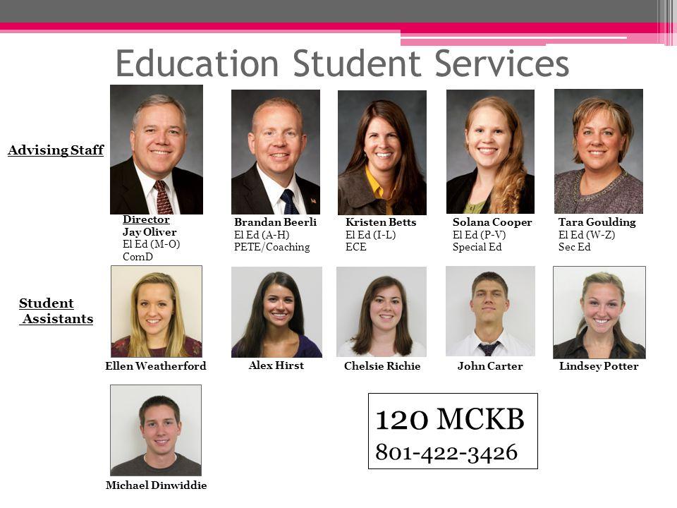 Education Student Services 120 MCKB 801-422-3426 Director Jay Oliver El Ed (M-O) ComD Brandan Beerli El Ed (A-H) PETE/Coaching Tara Goulding El Ed (W-