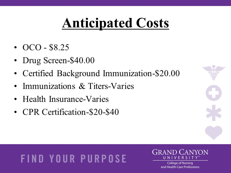 Anticipated Costs OCO - $8.25 Drug Screen-$40.00 Certified Background Immunization-$20.00 Immunizations & Titers-Varies Health Insurance-Varies CPR Ce