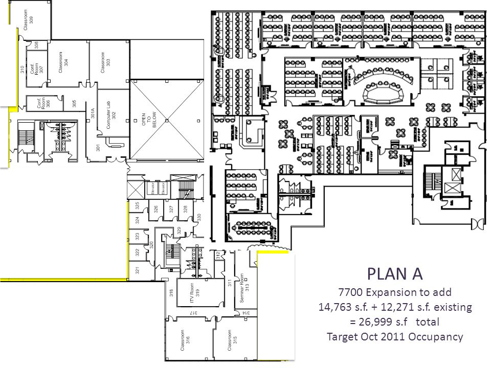 PLAN A 7700 Expansion to add 14,763 s.f. + 12,271 s.f.