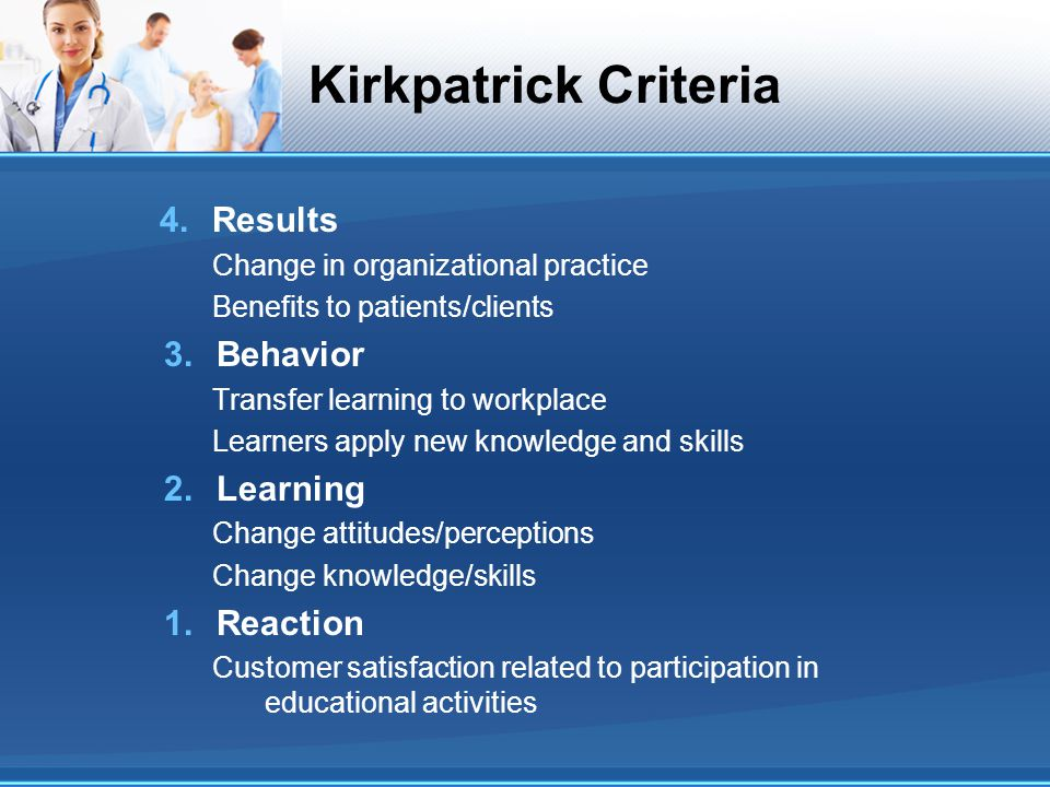 Kirkpatrick Criteria 4.Results Change in organizational practice Benefits to patients/clients 3.Behavior Transfer learning to workplace Learners apply