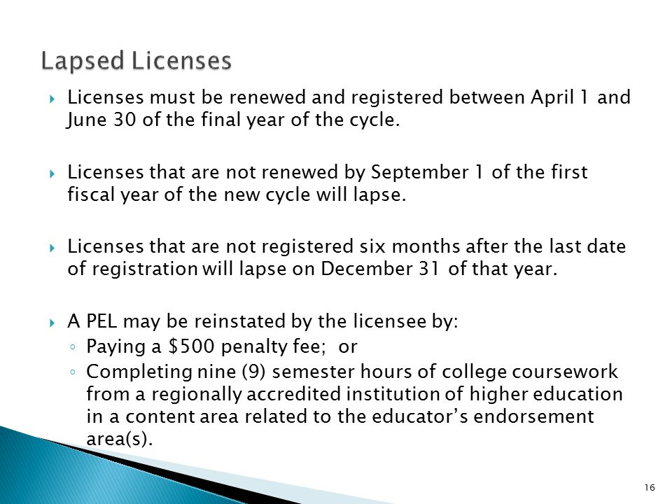  Licenses must be renewed and registered between April 1 and June 30 of the final year of the cycle.