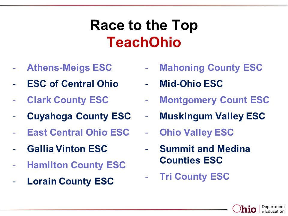 Race to the Top TeachOhio -Athens-Meigs ESC -ESC of Central Ohio -Clark County ESC -Cuyahoga County ESC -East Central Ohio ESC -Gallia Vinton ESC -Hamilton County ESC -Lorain County ESC -Mahoning County ESC -Mid-Ohio ESC -Montgomery Count ESC -Muskingum Valley ESC -Ohio Valley ESC -Summit and Medina Counties ESC -Tri County ESC