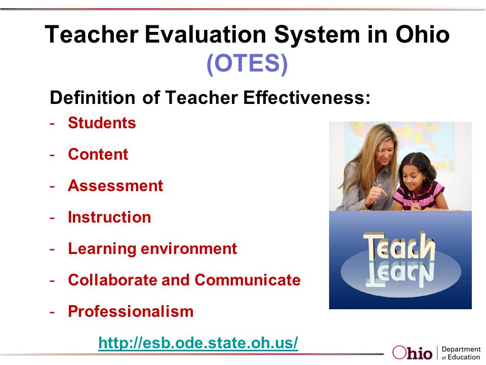 Teacher Evaluation System in Ohio (OTES) Definition of Teacher Effectiveness: -Students -Content -Assessment -Instruction -Learning environment -Collaborate and Communicate -Professionalism http://esb.ode.state.oh.us/