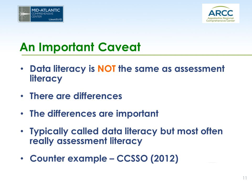 An Important Caveat Data literacy is NOT the same as assessment literacy There are differences The differences are important Typically called data literacy but most often really assessment literacy Counter example – CCSSO (2012) 11