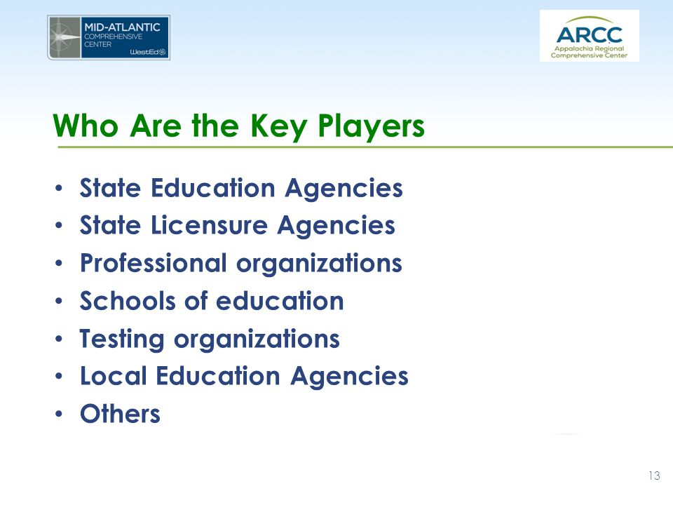 Who Are the Key Players State Education Agencies State Licensure Agencies Professional organizations Schools of education Testing organizations Local