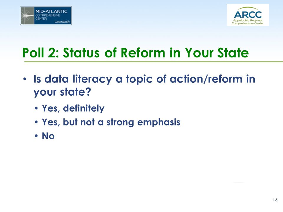 Poll 2: Status of Reform in Your State Is data literacy a topic of action/reform in your state? Yes, definitely Yes, but not a strong emphasis No 16