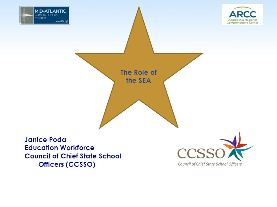 The Role of the SEA Janice Poda Education Workforce Council of Chief State School Officers (CCSSO)