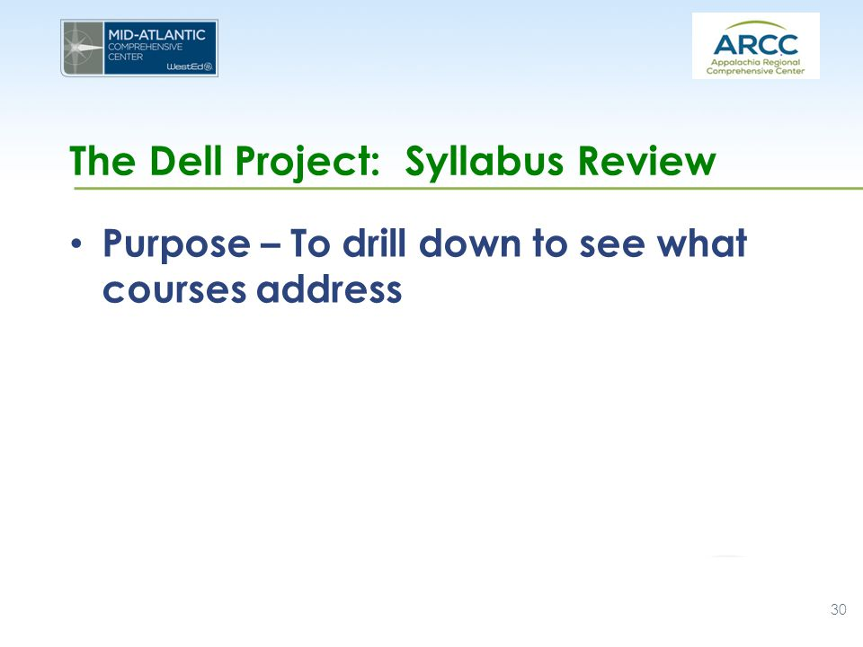 The Dell Project: Syllabus Review Purpose – To drill down to see what courses address 30
