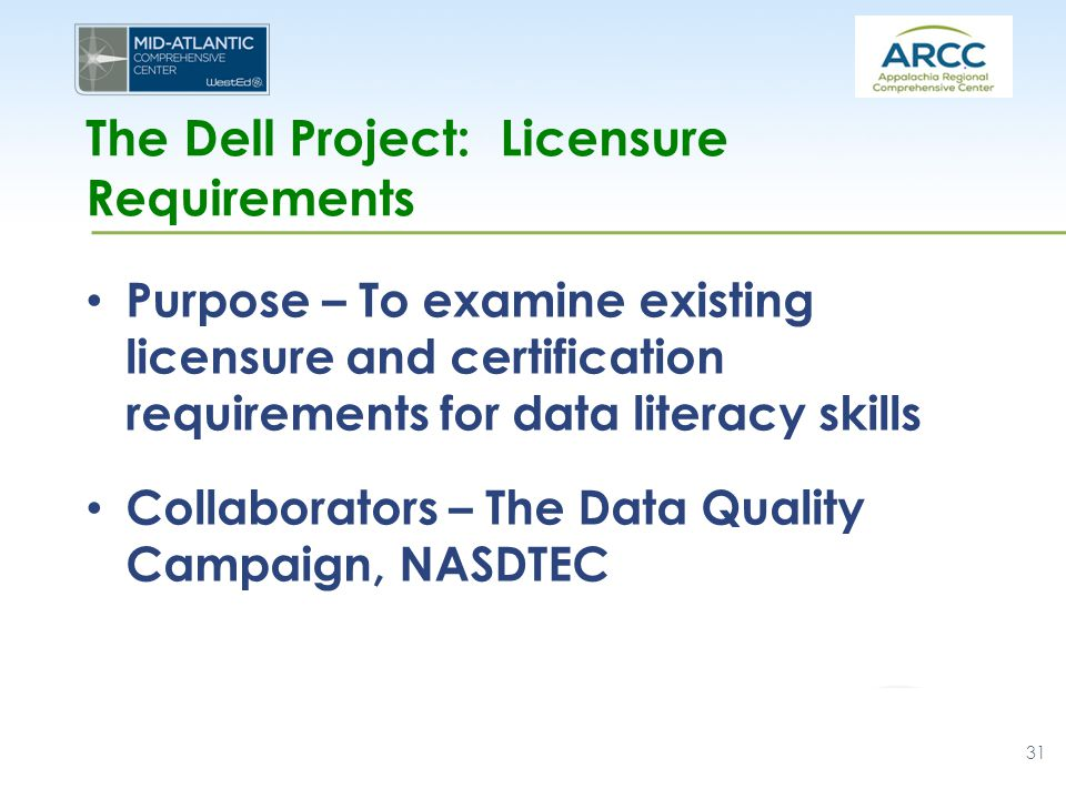 The Dell Project: Licensure Requirements Purpose – To examine existing licensure and certification requirements for data literacy skills Collaborators – The Data Quality Campaign, NASDTEC 31
