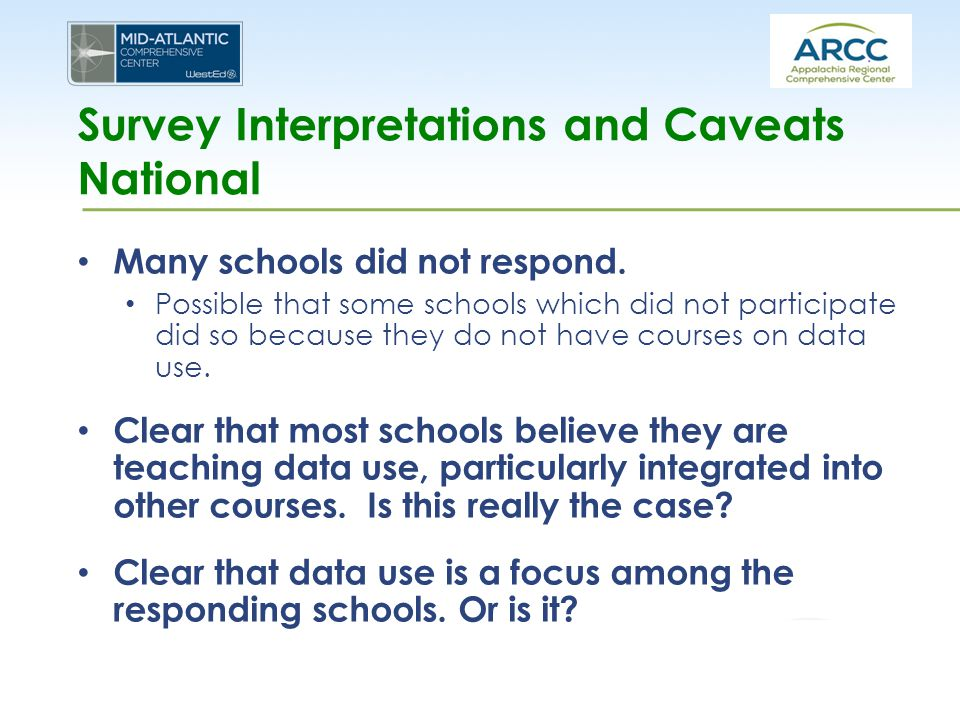 Survey Interpretations and Caveats National Many schools did not respond. Possible that some schools which did not participate did so because they do