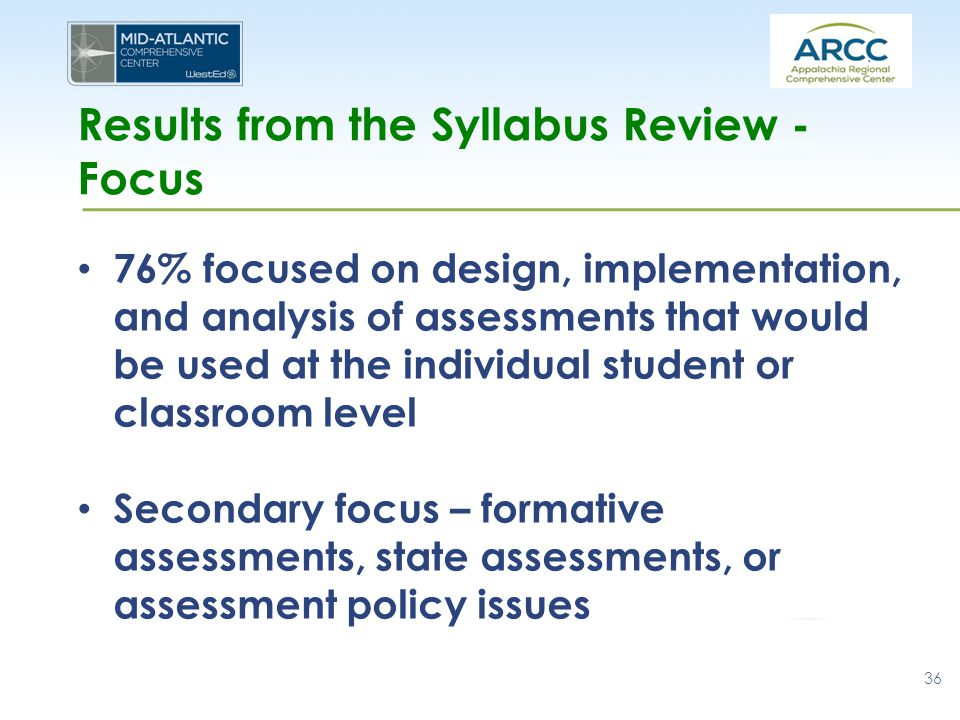 Results from the Syllabus Review - Focus 76% focused on design, implementation, and analysis of assessments that would be used at the individual stude