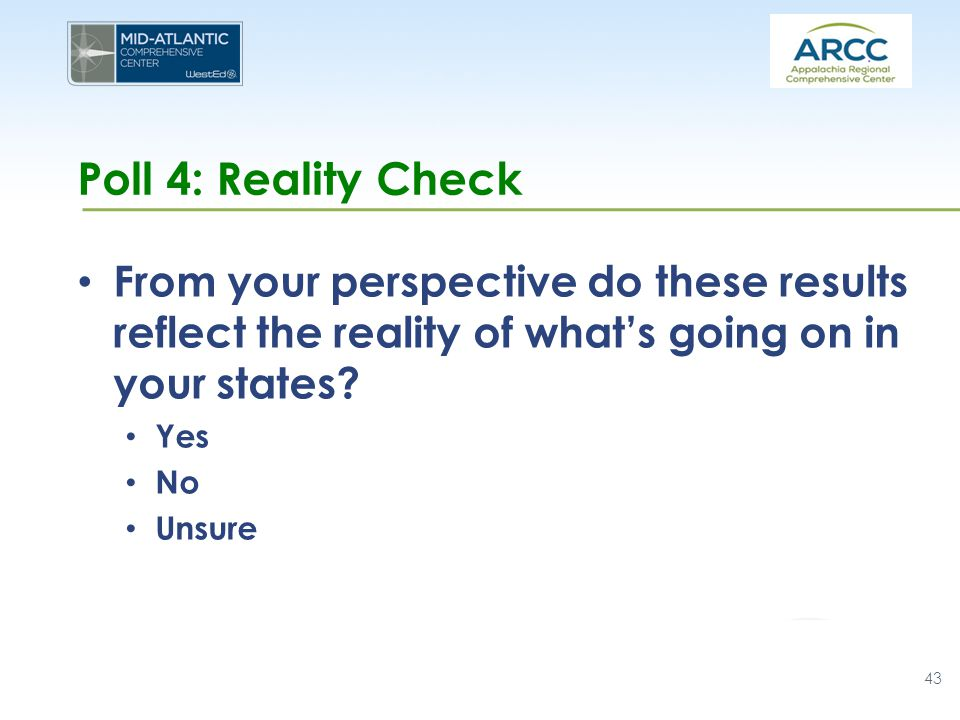 Poll 4: Reality Check From your perspective do these results reflect the reality of what's going on in your states.