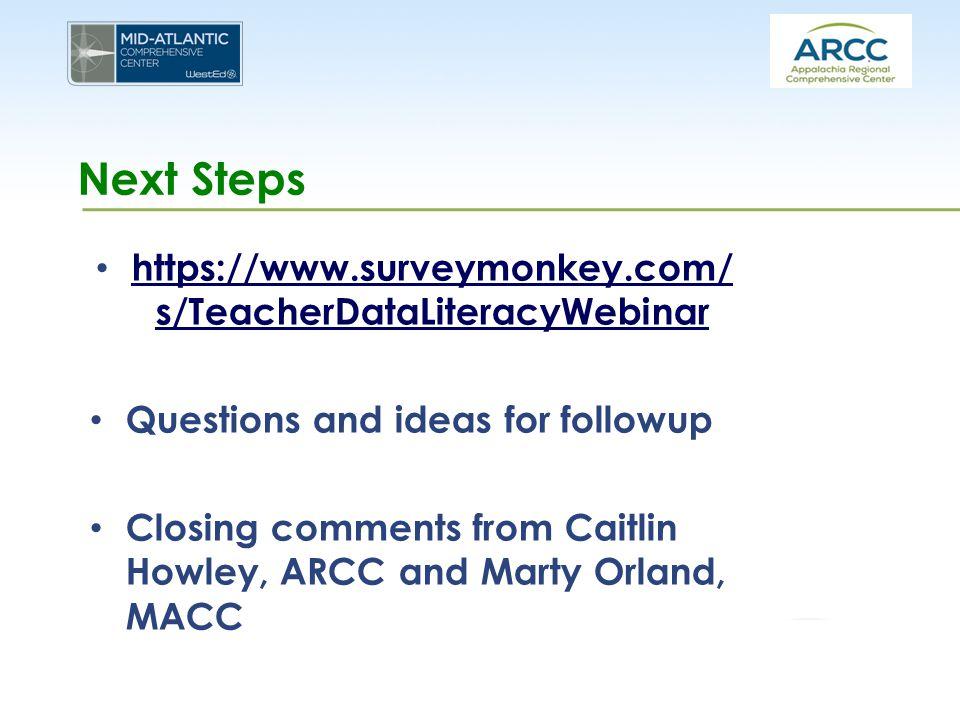 Next Steps https://www.surveymonkey.com/ s/TeacherDataLiteracyWebinar https://www.surveymonkey.com/ s/TeacherDataLiteracyWebinar Questions and ideas f