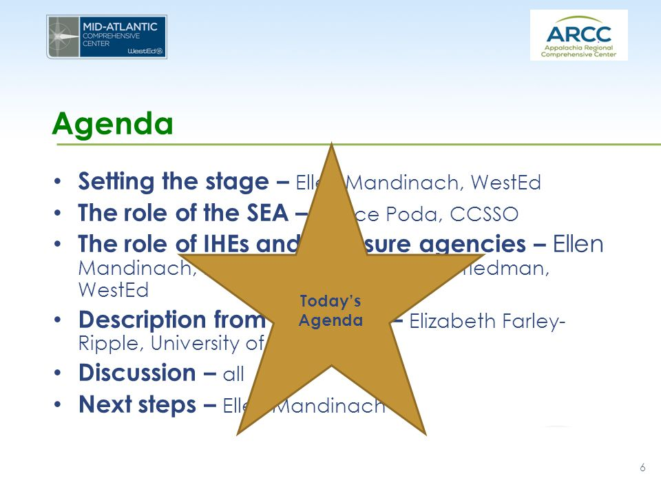 Agenda Setting the stage – Ellen Mandinach, WestEd The role of the SEA – Janice Poda, CCSSO The role of IHEs and licensure agencies – Ellen Mandinach, Edith Gummer, & Jeremy Friedman, WestEd Description from Delaware – Elizabeth Farley- Ripple, University of Delaware Discussion – all Next steps – Ellen Mandinach 6 Today's Agenda