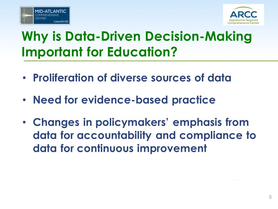 Why is Data-Driven Decision-Making Important for Education? Proliferation of diverse sources of data Need for evidence-based practice Changes in polic