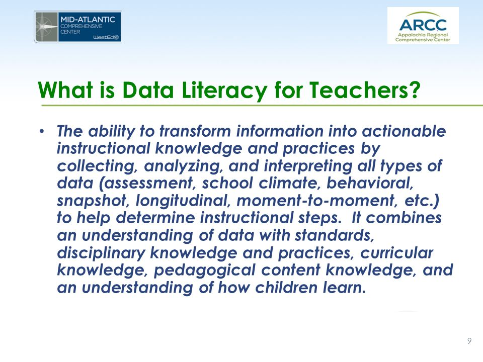 What is Data Literacy for Teachers? The ability to transform information into actionable instructional knowledge and practices by collecting, analyzin