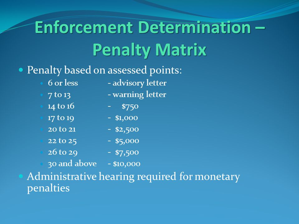 Enforcement Determination – Penalty Matrix Penalty based on assessed points: 6 or less - advisory letter 7 to 13 - warning letter 14 to 16 - $750 17 to 19 - $1,000 20 to 21- $2,500 22 to 25- $5,000 26 to 29- $7,500 30 and above- $10,000 Administrative hearing required for monetary penalties