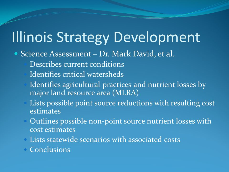Illinois Strategy Development Science Assessment – Dr.