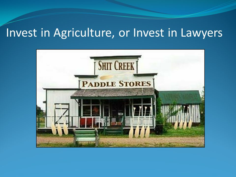 Invest in Agriculture, or Invest in Lawyers