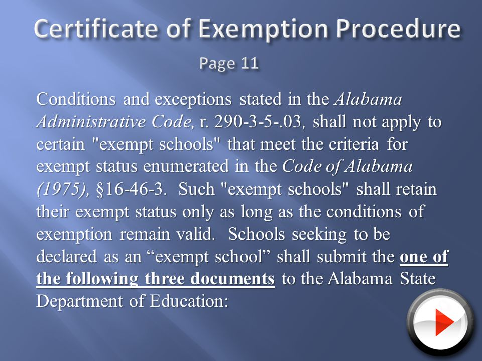 Conditions and exceptions stated in the Alabama Administrative Code, r.