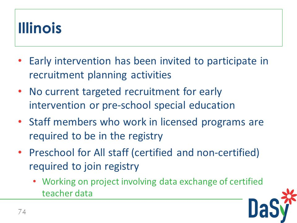 Early intervention has been invited to participate in recruitment planning activities No current targeted recruitment for early intervention or pre-school special education Staff members who work in licensed programs are required to be in the registry Preschool for All staff (certified and non-certified) required to join registry Working on project involving data exchange of certified teacher data Illinois 74