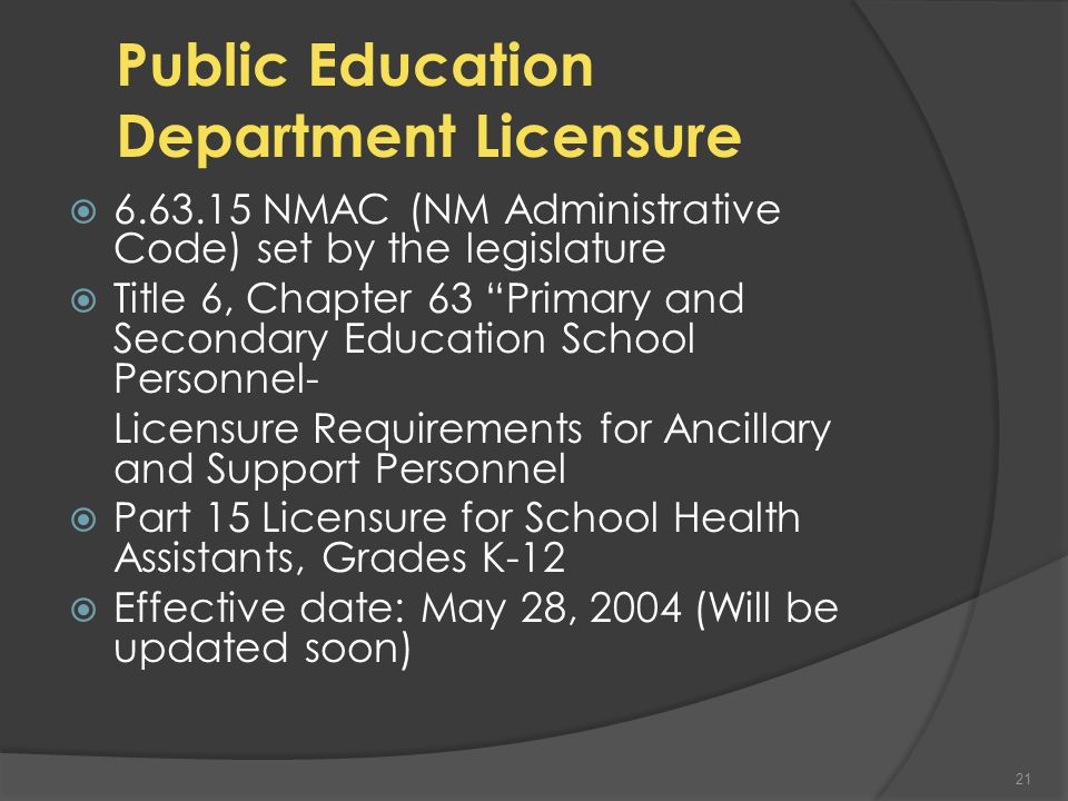 The Application Process  www.ped.state.nm.us www.ped.state.nm.us A-Z Directory (top) L Licensure Bureau 2 nd link on Right - Download application First time HA applicant Health Assistant Superintendent Verification Form Fingerprints need to be on file 20