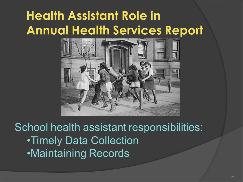 The NM Annual School Health Services Report Tells Us in 2010-2011:  334,008 New Mexico Students  339 Health Assistants  462 School Nurses  Average of 701 students per 1 health office personnel  Over 2.2 million student visits to health room  Over 90% back to class and learning 24