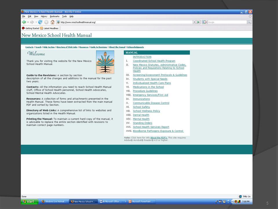New Mexico School Health Manual (NMSHM) www.nmschoolhealthmanual.org 4